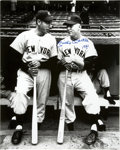 "Autographs:Photos, Mickey Mantle Signed ""1951"" Rookie Oversized Photograph. The rookie star Mickey Mantle receives advice from his Hall of Fam..."