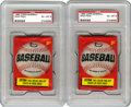 Baseball Collectibles:Others, 1966 Topps Unopened Wax Packs, PSA EX-MT 6 Group Lot of 2. Card numbers 1 through 109 are possible in this high-grade wax, s...