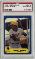 Baseball Cards:Singles (1970-Now), 1986 Fleer Update Barry Bonds PSA Gem Mint 10. Rookie entry from the 1986 Fleer Update issue presents Bonds' debut card in ...