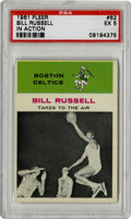 "Basketball Cards:Singles (Pre-1970), 196-62 Fleer Bill Russell In Action #62 PSA EX 5. One of the game'spremier big men is shown here for his ""In Action"" #62 en..."