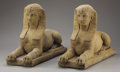 Decorative Arts, Continental:Other , A PAIR OF CONTINENTAL COMPOSITE STONE SPHINXES. 20th Century. 28-1/2 inches (72.4 cm) long, each. ... (Total: 2 Items)