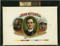 Antique Stone Lithography:Cigar Label Art, John Mitchell Union Made Justice to All 5 Cent Cigar InnerProof Cigar Label....