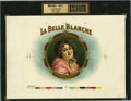 Antique Stone Lithography:Cigar Label Art, La Belle Blanche Cigar Inner Label Proof,...