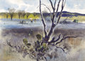 Fine Art - Painting, American:Contemporary   (1950 to present)  , JOHN P. COWAN (American, b. 1920). Graham Hamilton's ValleyView, Cuero. Watercolor on paper. 22-1/4 x 30-1/2 inches (56...