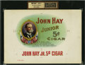 Antique Stone Lithography:Cigar Label Art, John Hay Cigar Inner Label Proof,...