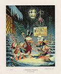 """Original Comic Art:Miscellaneous, Carl Barks - """"A Christmas Trimming"""" Miniature Lithograph LimitedEdition Print #14/595 (Another Rainbow, 1999).... (Total: 2 Items)"""