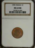 Indian Cents: , 1909 1C MS63 Red and Brown NGC. NGC Census: (88/528). PCGS Population (164/538). Mintage: 14,370,645. Numismedia Wsl. Price...