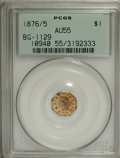 California Fractional Gold, 1876/5 $1 Indian Octagonal 1 Dollar, BG-1129, R.4 AU55 PCGS....