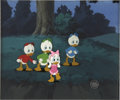 "animation art:Production Drawing, ""Duck Tales"" Huey, Dewey, Louie, and Webby Animation Production CelSet-Up with Background Original Art (Disney, 1987)...."