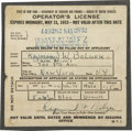 Movie/TV Memorabilia:Autographs and Signed Items, Ray Bolger Signed Driver's License. A New York State Operator's License issued in May 1932 to Wizard of Oz actor Ray Bol... (Total: 1 Item)