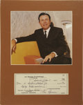 Music Memorabilia:Autographs and Signed Items, Jim Reeves Signed Check. A business check for $50, dated January 7,1960 and signed by the Country legend in black ink. In V... (Total:1 Item)