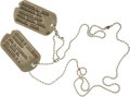 Movie/TV Memorabilia:Props, Loretta Swit Prop M*A*S*H Dog Tags. A pair of mismatched dogtags worn by the actress on the popular TV sitcom. ... (Total: 1Item)