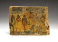 Antiques:Antiquities, Painted Sarcophagus Panel...