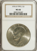 Eisenhower Dollars: , 1976-D $1 Type Two MS66 NGC. NGC Census: (199/9). PCGS Population (664/22). Mintage: 82,179,568. Numismedia Wsl. Price for ...