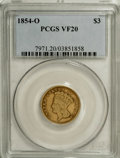Three Dollar Gold Pieces: , 1854-O $3 VF20 PCGS. This well-worn three dollar piece providesproof that these coins actually did circulate at the time t...