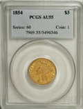 Three Dollar Gold Pieces: , 1854 $3 AU55 PCGS. A lovely yellow-orange representative from thefirst year of the series that displays considerable remai...