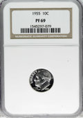 Proof Roosevelt Dimes: , 1955 10C PR69 NGC. NGC Census: (60/0). Mintage: 378,200. (#5230)...