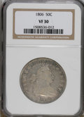 Early Half Dollars: , 1806 50C Pointed 6, Stem VF30 NGC. NGC Census: (287/1375). PCGSPopulation (84/411). Mintage: 839,576. Numismedia Wsl. Pric...