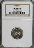Jefferson Nickels: , 1938 5C MS66 Full Steps NGC. NGC Census: (20/6). PCGS Population(106/6). (#84000)...