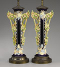 Ceramics & Porcelain, Continental:Antique  (Pre 1900), A PAIR OF CONTINENTAL MAJOLICA VASES. Late 19th-Early 20th Century. 17 inches (43.2 cm) high, each. ... (Total: 2 Items)