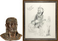"Music Memorabilia:Original Art, Willie Nelson Limited Edition Bust with Artist Copy Sketch. A 15""plaster bust of Willie Nelson, from a limited edition of o...(Total: 1 Item)"