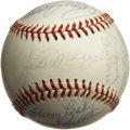 Autographs:Baseballs, 1940s-60s Old Timers Multi-Signed Baseball with Mantle andDiMaggio. The Yankee Clipper Joe DiMaggio occupies the sweet spo...