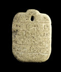 Antiques:Antiquities, Stone Cuneiform Amulet...