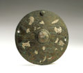 Antiques:Antiquities, Roman Inlaid Bronze Lid or Boss...