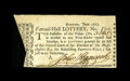 Colonial Notes:Massachusetts, John Hancock Signed Lottery Ticket....