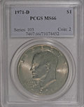 Eisenhower Dollars: , 1971-D $1 MS66 PCGS. PCGS Population (685/15). NGC Census: (504/36). Mintage: 68,587,424. Numismedia Wsl. Price for NGC/PCG...