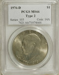 Eisenhower Dollars: , 1976-D $1 Type Two MS66 PCGS. PCGS Population (667/22). NGC Census: (218/9). Mintage: 82,179,568. Numismedia Wsl. Price for...