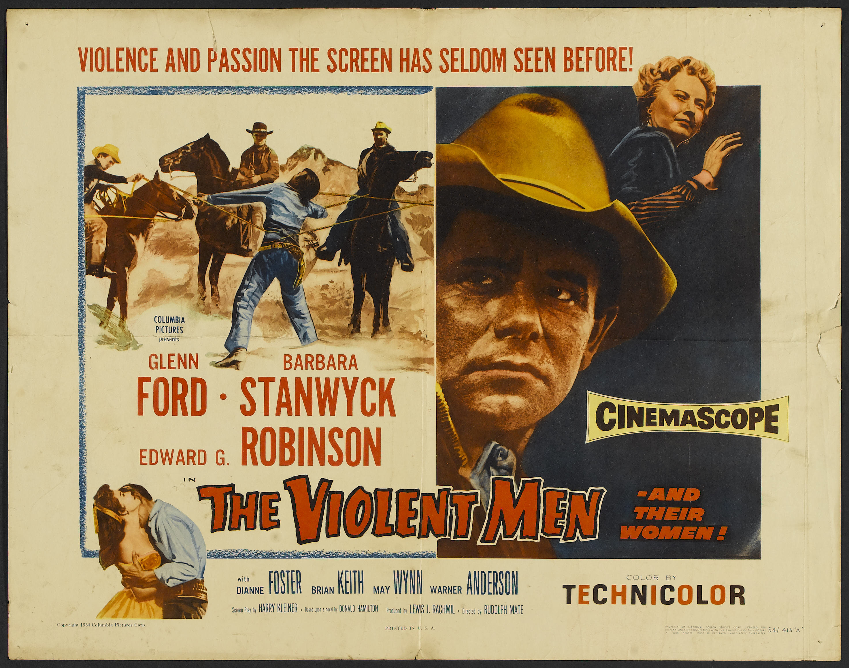 "The Violent Men (Columbia, 1955). Half Sheet (22"" X 28"") Style A ..."