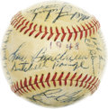 Autographs:Baseballs, 1948 Cleveland Indians Team Signed Baseball. In a city starved for World Championship sports glory, this last ballclub to c...