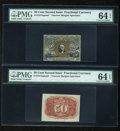 Fractional Currency:Second Issue, Fr. 1314SP 50c Second Issue Narrow Margin Pair PMG Choice Uncirculated 64 EPQ.... (Total: 2 notes)