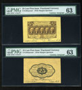 Fractional Currency:First Issue, Fr. 1282SP 25c First Issue Wide Margin Pair with Gilfillan Courtesy Autograph PMG Choice Uncirculated 63.... (Total: 2 notes)
