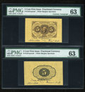 Fractional Currency:First Issue, Fr. 1231SP 5c First Issue Wide Margin Pair with Gilfillan Courtesy Autograph PMG Choice Uncirculated 63.... (Total: 2 notes)