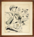 Baseball Collectibles:Others, Circa 1950 Phil Rizzuto Original Cartoon Artwork by Mullin.Exceptional pen and ink work is unmistakably that of TheSpor...