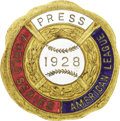 Baseball Collectibles:Others, 1928 World Series (New York Yankees) Press Pin. The Yanks make iteight October wins in a row as they sweep their National ...