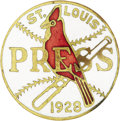Baseball Collectibles:Others, 1928 World Series Press Pin (St. Louis Cardinals). Pins with spacious fields of white enamel are commonly found pink-toned,...