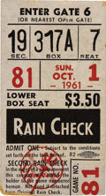 Baseball Collectibles:Tickets, 1961 Roger Maris Sixty-First Home Run Ticket Stub. When ranking themost memorable moments in post-war baseball history in ...