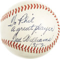 """Autographs:Baseballs, 1952 Ted Williams Single Signed Baseball to Phil Rizzuto. While""""playing days"""" singles from Ted Williams are tough and high..."""