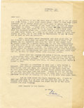 Autographs:Letters, 1944 Earle Combs Signed Typed Letter. One of the earliest of alongpedigree of excellent New York centerfielders, Earle Com...