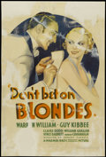 """Movie Posters:Comedy, Don't Bet on Blondes (Warner Brothers, 1935). One Sheet (27.5"""" X 41""""). Comedy...."""