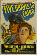 "Movie Posters:War, Five Graves to Cairo (Paramount, 1943). One Sheet (27"" X 41"") StyleA. War...."