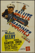 "Movie Posters:War, Salute to the Marines (MGM, 1943). One Sheet (27"" X 41"") Style C.War...."