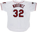Baseball Collectibles:Uniforms, 1995 Dennis Martinez Game Worn Jersey. Near the close of his career, the long-time hurler Dennis Martinez played for the Cl...