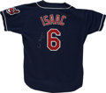Baseball Collectibles:Uniforms, 1994 Luis Isaac Signed and Game Worn Jersey. Cleveland Indians bullpen coach Luis Isaac wore the road navy blue jersey that...