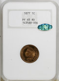 Proof Indian Cents, 1877 1C PR65 Red NGC. CAC. NGC Census: (11/3). PCGS Population (19/13). Mintage: 900. Numismedia Wsl. Price for NGC/PCG...