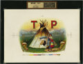 Antique Stone Lithography:Cigar Label Art, T P Inner Proof Cigar Label with Beautiful Native AmericanVignette....
