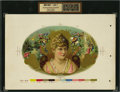 Antique Stone Lithography:Cigar Label Art, Theatrical Beauty (Untitled) Inner Proof Cigar Label....